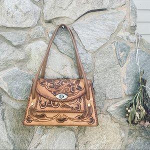 Vtg Hand Tooled Leather Handbag